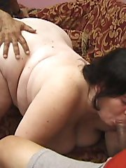 Horny slut in the middle of a sandwich