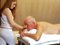 Oldman tears up young masseuse pops in her mouth