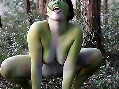 Stark naked Japanese xxl frog dame in the swamp HD