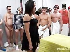 Gangbanged and Cummed on by 30 men