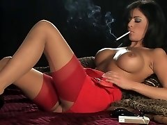 Hot Sexy Busty Dark Haired In Heels Smoking and Frolicking