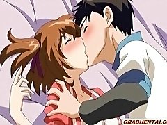 Busty anime coed first time smooching and sex