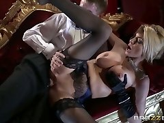 Glamour blonde with mouth-watering melons  rails dick and gives her head at the theater