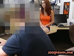 Busty redhead girl in eye glasses gets nailed in a pawnshop