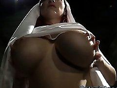 Big milk cans slutty nun scolds sinner