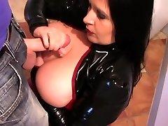Latex Slut in the Kitchen - Spandex Blowjob Hand Job - Cum on my Tits