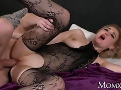 MOM Wet meaty tits MILF in bodystocking drizzling and rimming