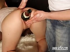 Huge dual fisting and bottle insertions