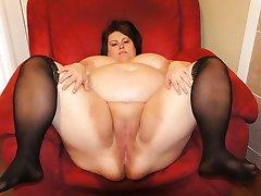 Naughty horny BBWs spread their fat pussies