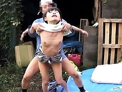 Cocksucking japanese outdoors in threeway fucked
