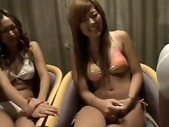 two Japanese girls eyeing two dicks 1 cfnm