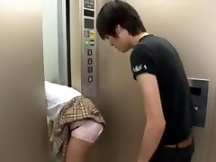 Asian Schoolgirl Trapped on Elevator 3