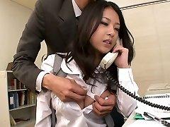 Extraordinaire kawaii Japanese office slut sucks two strong cocks at work