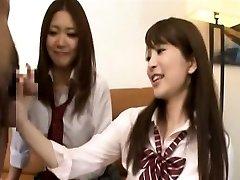Subtitled CFNM Chinese schoolgirls tagteam fellatio