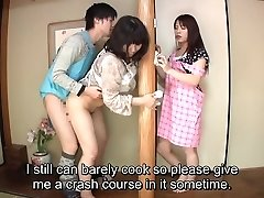 Subtitled Japanese risky orgy with voluptuous mother in law