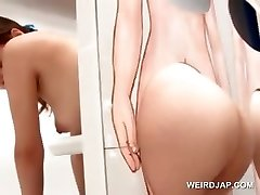 Uber-sexy asian ginger-haired gets pussy licked on gloryhole