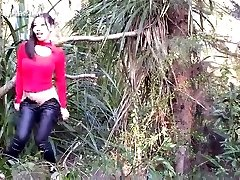 chinese lady making loving outdoor