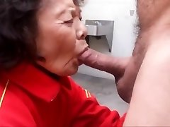 Granny loves deepthroating cock and swallowing cum