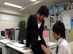 Office woman masturbate in office with co-worker