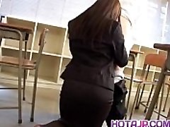 Mei Sawai Asian buxomy in office suit gives hot blowjob at school