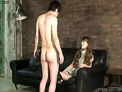 CFNM Japanese female dom Ruri like to watch a young nude boy ma