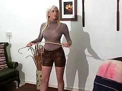 caning punishment by warm young ash-blonde mistress in leather sh