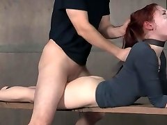 Redhead BDSM facefuck and rock hard pounding
