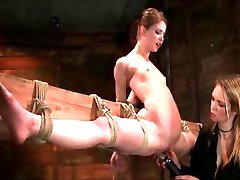 Painful Tight Rope Bondage To The Wood