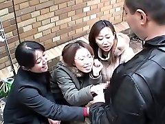 Japanese damsels tease stud in public via handjob Subtitled