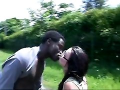 French Girl drills african in the camper and bus stop