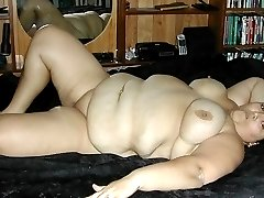 BBW big belly wife nude in her bed