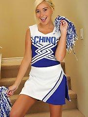 Spunky blond cheerleader Kaylee Hayee strips naked.
