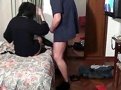 A girl pretense misfortune television at the hotel