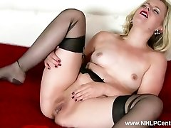 Naughty blondie Anna Belle jerks in retro garter and sheer black nylons