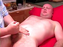 Hand Job to Bald Man