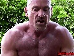 Mature wolf cums tugging