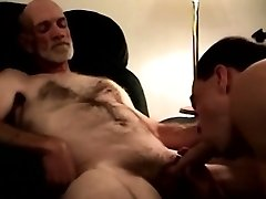 Mature hairy bear sucking hard dick