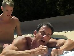 Naked guys Daddy Poolside Prick Loving