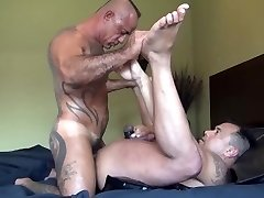 Muscle Daddy Breeding his Cub - BareBackrt Media