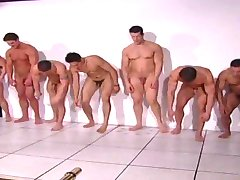 Manly muscular models doing push-ups naked