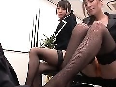 Asian sexy interns playing naughty dominas with their boss