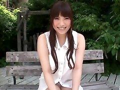 Sweet outdoor solo onanism with Yuri Sato