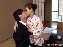 Yuri Matsushima warm mature Japanese babe in kimono gets 69