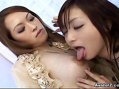 Asian lesbos playing with dildos