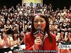 Subtitled CFNM Japanese huge handjob blowjob event
