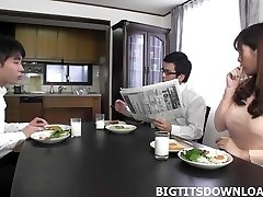 Handsome japanese with big tits playing