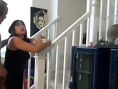 Plump asian nephew fuck and internal ejaculation on the stairs