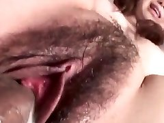 Jun Mise gets a big dick to enlarge her raw pubic hair