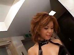 Akane Hotaru unloads while toying