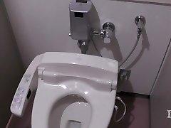 Elitist abnormal damsel. In the restroom in a workplace, onan